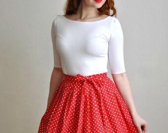 Red Polka Dots Skirt Univerzal Size