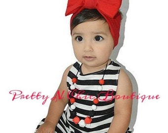 Ruby Red Bow Headwrap - Baby Bow Headwrap