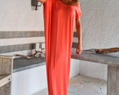 Coral Maxi Dress / Coral Kaftan / Asymmetric Plus Size Dress / Oversize Loose Dress / #35085