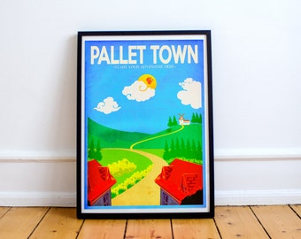 Pallet Town Travel Poster - Pokemon Retro Inspired Art Print - (Available in Several Sizes)
