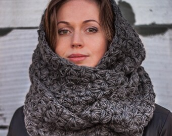 Hooded Scarf. Long Scarf. Wool Scarf. Chunky hooded scarf. Hooded long scarf. Scoodie Scarf. Greay hoodie scarf knit scoodie