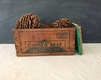 Libby's Corned Beef Box - Vintage Wood Box - Crate - Advertising - Bin - Rustic - Farmhouse - Country - Wood Crate - Wooden Box - Crate