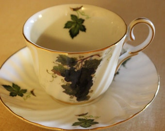 Vintage Porcelain Cup and Plate / Fine porcelain / glass cup and plate