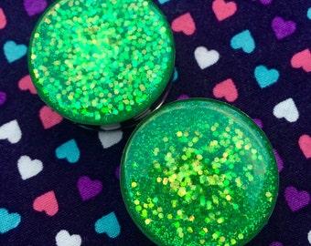 Green Glitter Plugs- 12mm,14mm,16mm,18mm,20mm,22mm,24mm,25mm,26mm,28mm,30mm,32mm,34mm,36mm,38mm,40mm,42mm,44mm,50mm