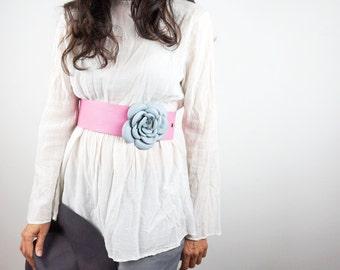 Pink Wide Leather Belt with Light Blue Rose/Pastel Soft Leather Belt/Women Wide Leather Belt/Waist or Hip Belt/Unique Pink Belt -  BeltEL14