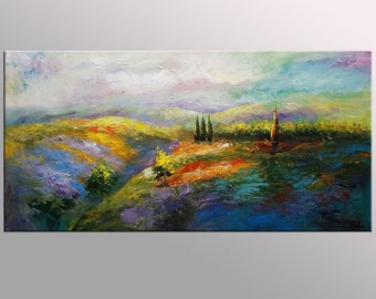 Landscape Painting, Flower Field Painting, Canvas Art, Oil Painting, Framed Art, Abstract Art, Texture Palette Knife Art, Canvas Painting