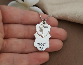 Navy Mom Necklace | Anchor Mom Necklace | Mom You Are My Anchor Necklace | Nautical Mom Necklace | Navy Wife Necklace