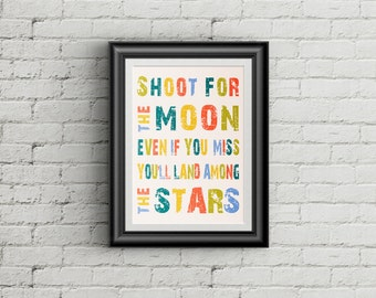 Shoot For The Moon Print Children's Wall Art Childrens Room Decor Nursery Wall Art Classroom Art