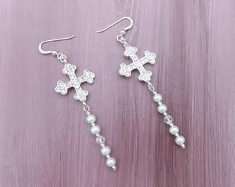 Cross and glass pearl earrings, cross earrings, rhinestone cross earrings,