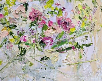Impasto Art Pink Flower Painting on Canvas Eclectic Painting Bedroom Wall Art Wall Décor Abstract Flower Painting Oil Palette Knife Painting