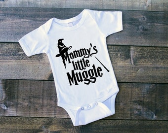 Mommy's Little Muggle or Daddy's Little Muggle Newborn Bodysuit Toddler Tshirt Baby Boy Outfit Baby Girl Outfit Muggle Tshirt Muggle Outfit