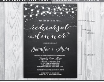 rehearsal dinner invitation / wedding rehearsal invitation / rehearsal dinner invites / chalkboard rehearsal dinner / INSTANT DOWNLOAD