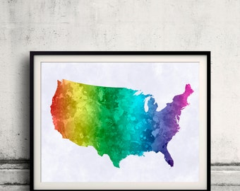 United States map in watercolor painting abstract splatters - Fine Art Print Glicee Poster Gift Illustration Colorful USA America - SKU 1209