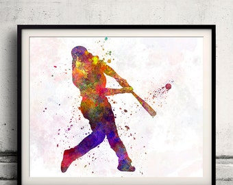 Baseball player hitting a ball 04 - poster watercolor wall art gift splatter sport baseball illustration print Glicée artistic  - SKU 1240