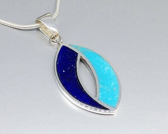 Beautiful pendant with Lapis Lazuli and Turquoise with Sterling silver - inlay work - shades of blue - gift idea