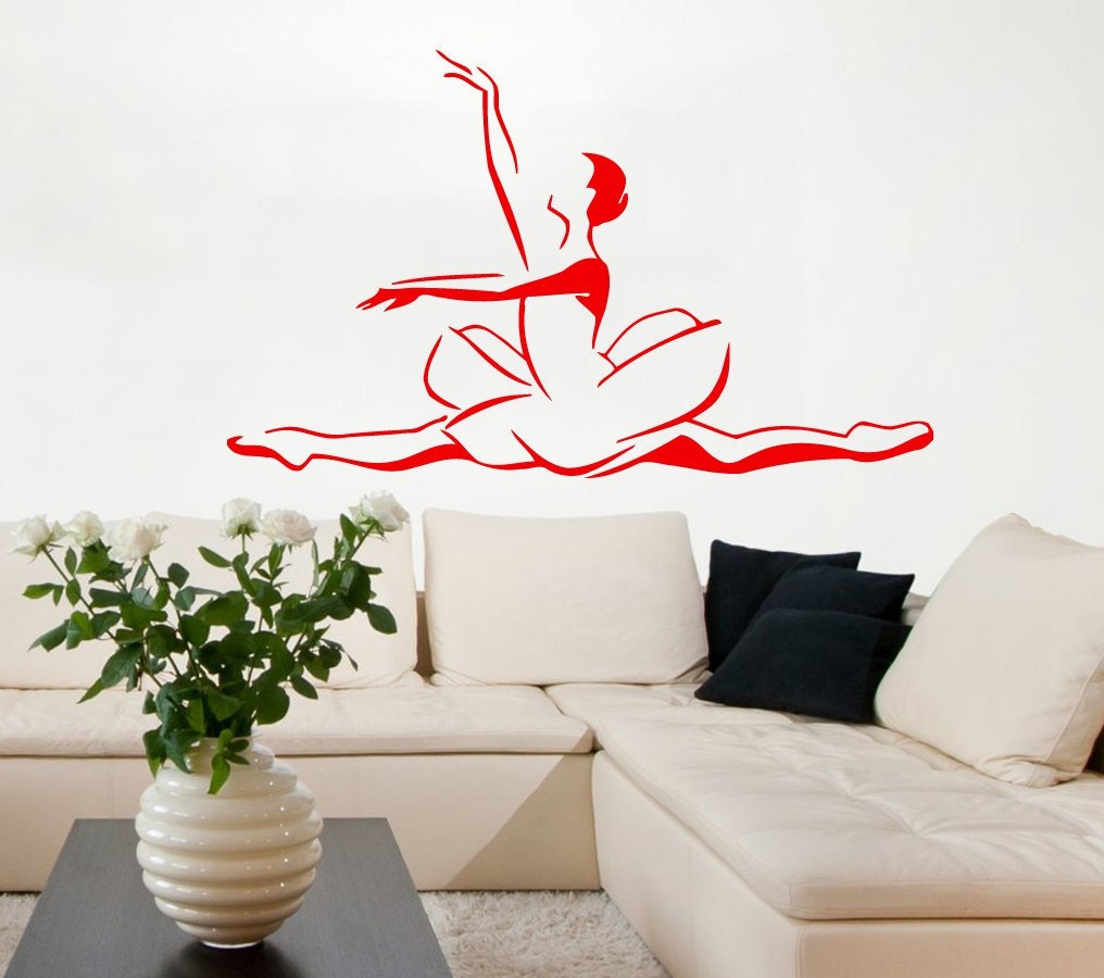 Ballerina wall decals woman dancer ballet decal dance studio for Ballerina wall mural