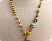 Flower pendent necklace, freshwater pearls, Swarovski Crystal, Brass Vintage Accents, Turquoise Gemstone, Bohemian Jewelry, Fall Jewelry