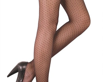 Thin Fancy Pantyhose Tights. Dots Tattoo Design.