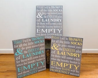 Custom Laundry Sign - Today I will be thankful for Laundry...Profoundly Missed 16x20 Custom Laundry Room Wood Sign
