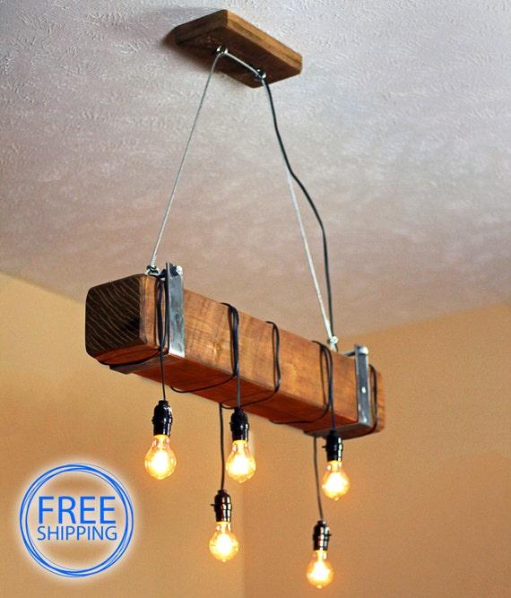 Rustic Lighting Rope Pendant Light Rope Light Wood Beam: Light.lamp.ceiling Light.lighting.pendant By MakariosDecor