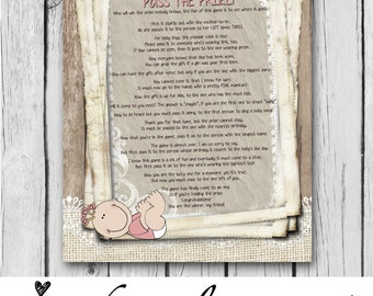 items similar to baby shower game pass the gift printable girl