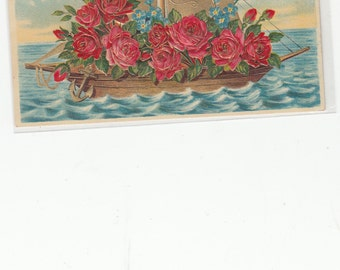 """Antique Postcard Fantasy Boat Embossed Roses Rich Gold Sail """"Heartiest Congratulations"""""""