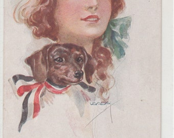 A/S USABAL Stunning Woman With Dachshund Dog At Her Shoulder, Fine Old Postcard,Unused