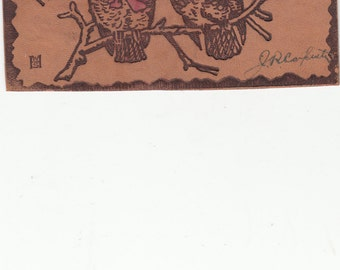 """Antique Leather Postcards,2 Owls On Branch """"Rember Me To My Owl'd Friends,Undivided 1906"""