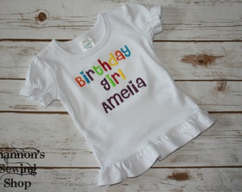 Personalized Birthday Girl Shirt, Rainbow Birthday Shirt