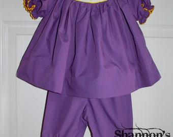 Smocked Mardi Gras Pant Set