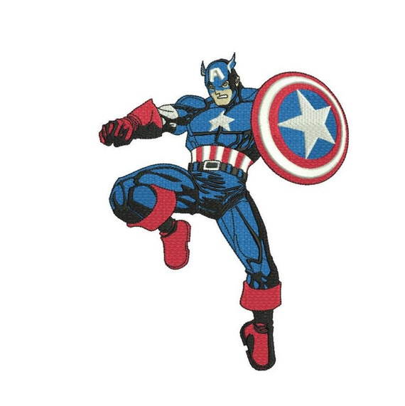 Captain America Filled Embroidery Pattern 4 Sizes Machine