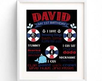 ON SALE! Nautical Birthday Board - Great for any age - Digital Print