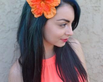Flower Hair Clip - Orange Hawaiian Hibiscus - Hair Accessories - Hula Flowers - Beach Party - Flower Girl - Bridal - Festivals