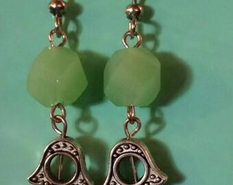 Free shipping. Green beaded hamsa dangle earrings