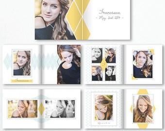 12x12 Senior Layflat Album Template - Photo Album - Photo Book Template - Senior 2016 - Photography Book - BOOK001 - instant download