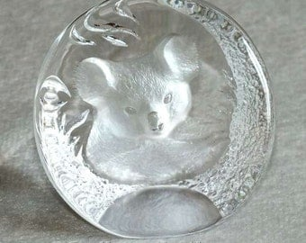 Vintage retro Mats Jonasson Maleras Sweden - Lead Crystal Glass Koala Bear Handmade Sculpture paperweight Signed 9175 c.1980's (ref: 5006)