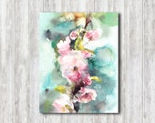 Watercolor Painting Art Print, Cherry Blossoms Painting, Pink Turquoise, Spring Wall Art