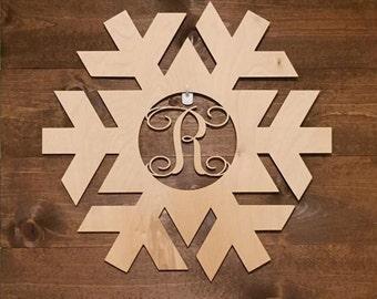 "24"" Wood Snowflake Laser Cutout Shape Winter Monogram Initial Unfinished"