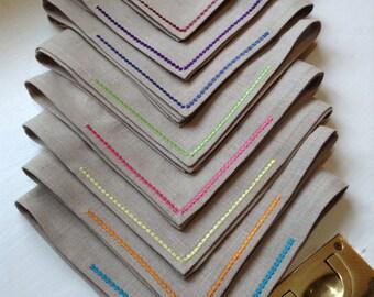 "Linen Dinner Napkins - ""Fiesta"" Set of 6 (choose your colors!)"