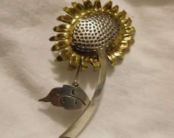 Vintage Sterling Silver 925 Sunflower Flower Pin Brooch, Two-Tone, Mexico, M-226