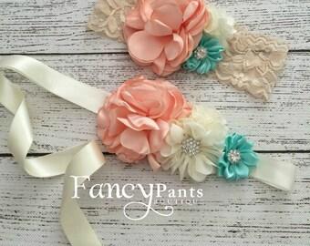 Coral and mint headband, lace headband, rustic headband, toddler headband, baby headband, flower headband, peach/coral headband, mint