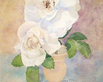 Original Watercolor Painting Two White Roses Watercolor Original Art Flower Art Still Life Painting Matted Watercolor 12 x 16 Sally Lavin