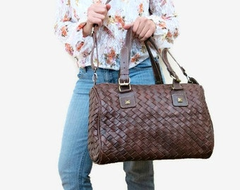 Leather bag - Leather weekender bag - womens weekender bag - brown leather weekender - leather travel bag - leather overnight bag - luggage