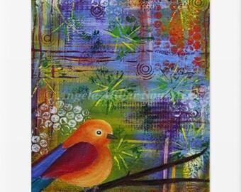 Bird print - Bird art - Bird wall art - Bird home decor -  Bird lover -  Free As A Bird - Whimsical bird art - Vibrant  bird - Bird gifts