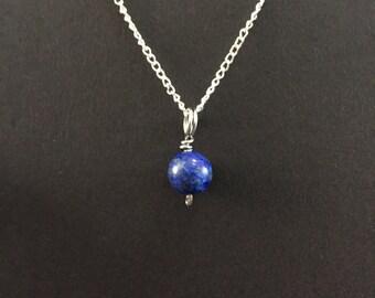 Tiny Lapis Lazuli Charm Necklace