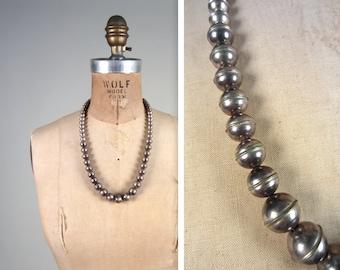 Vintage Silver Beaded Navajo Necklace
