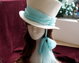 Elegant Gothic Dandy Bias Top Hat & Sash Set