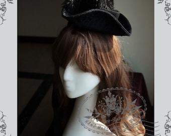 Exclusive Vintage Fashion Milliner Pirate Gothic Steampunk Victorian Tricorn Hat Headdress