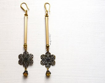long earrings with flower