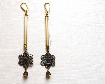 long earrings with flower